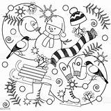 Coloring Winter Adults Vector Snowman Boots Blizzard Illustration sketch template