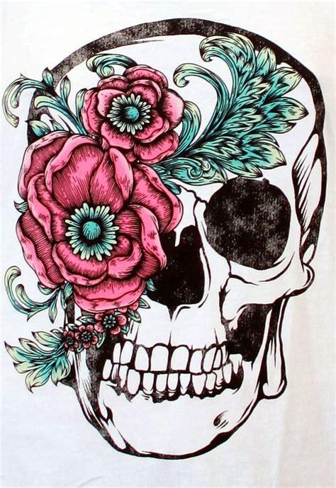 beautiful skull  flower accent good   thigh tattoo tattoo designs pinterest