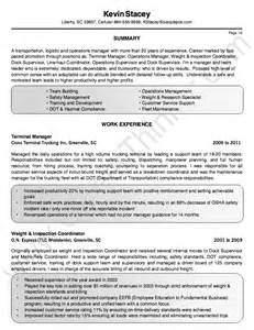 transportation terminal manager resume template resumes