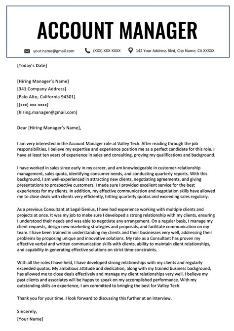 Cover Letter Accounting Manager by Account Manager Cover Letter Exle Resume Genius