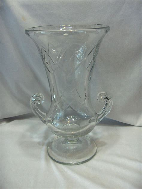 Glass Urn Vase by Large Cut Glass Blown Vase Grecian Urn Ebay