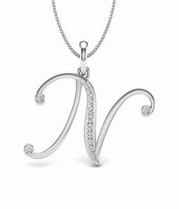 aamanat letter n pendant in sterling silver austrian With letter n pendant