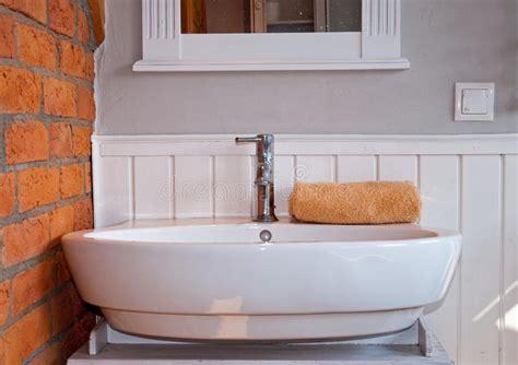 White Grey Bathroom With Sink Stock Photo