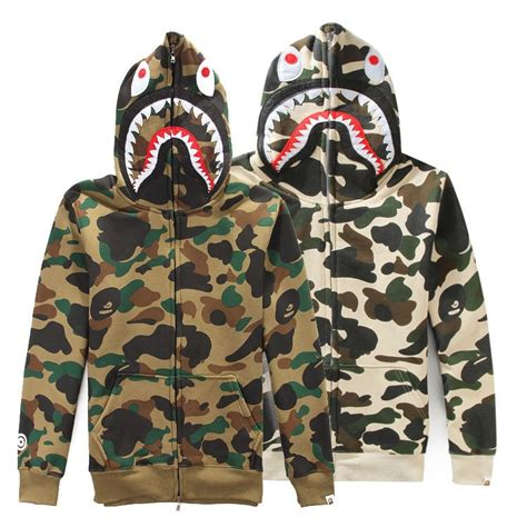 hoodie zipper jaket hoodie size m bape shark hoodie fashion camouflage hip hop sweatshirts