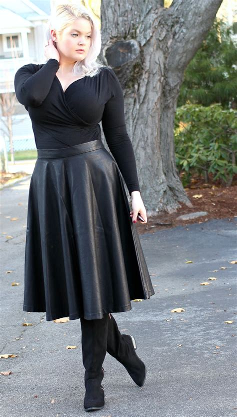 A Line Leather Skirt Outfit - Dress Ala