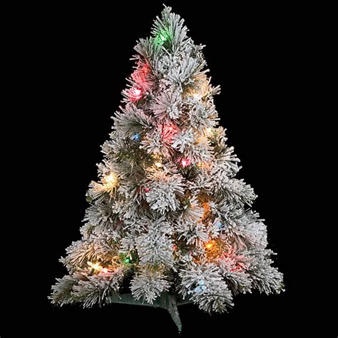 30 inch flocked mini tree multi colored lights c 91092