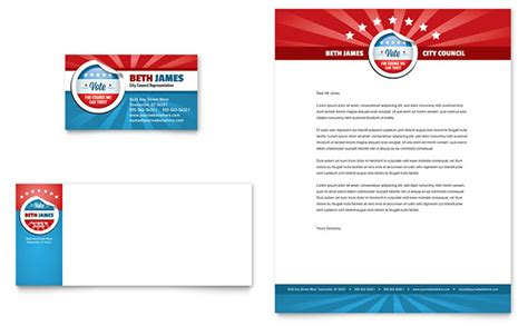 political candidate business card letterhead template