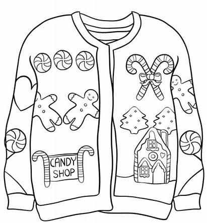 Sweater Coloring Christmas Ugly Pages Candy Sweaters