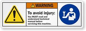 To Avoid Injury Read Technical Manual Before Servicing