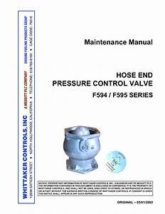 Maintenance Manual Hose End Pressure Control Valve