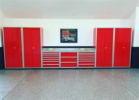 red and black garage cabinets gallery of garage shop aluminum cabinets moduline part 2