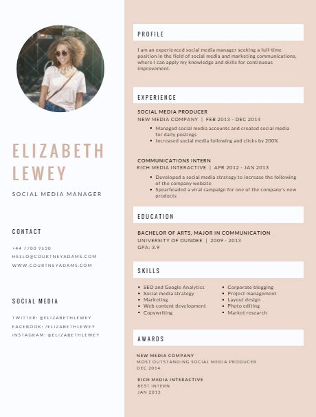 Canevas Cv by Canva 1 Resume Template Resume Ideas Fashion Resume