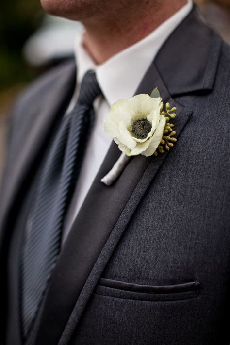 white anemone boutonniere elizabeth anne designs