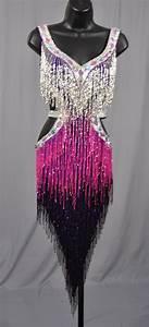 silver purple fringe dress