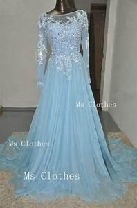 custom made blue long sleeve lace wedding dresses by With blue lace wedding dress