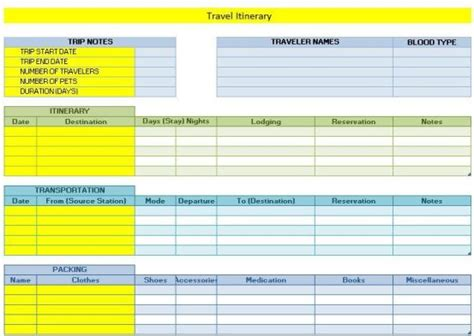 travel itinerary templates find word templates
