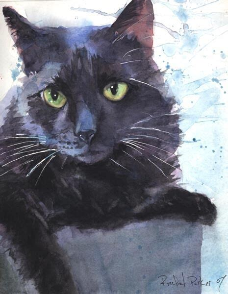 Abstract Black Cat Watercolor giclee print black cat watercolor painting splash pet
