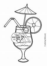 Summer Coloring Pages Printable Cocktail Colouring Drawing Seasons Food Season Drinks 4kids Adult Sheets Cocktails Printables Books Easy Drawings Getdrawings sketch template