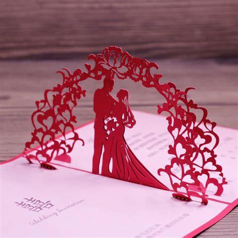 wedding anniversary card laser cut red art paper