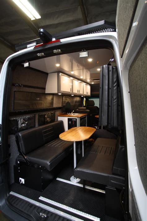 rear dinettebed setup   sprinter vans grey
