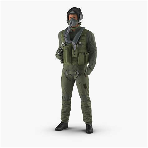 Military Jet Fighter Pilot 3d Max