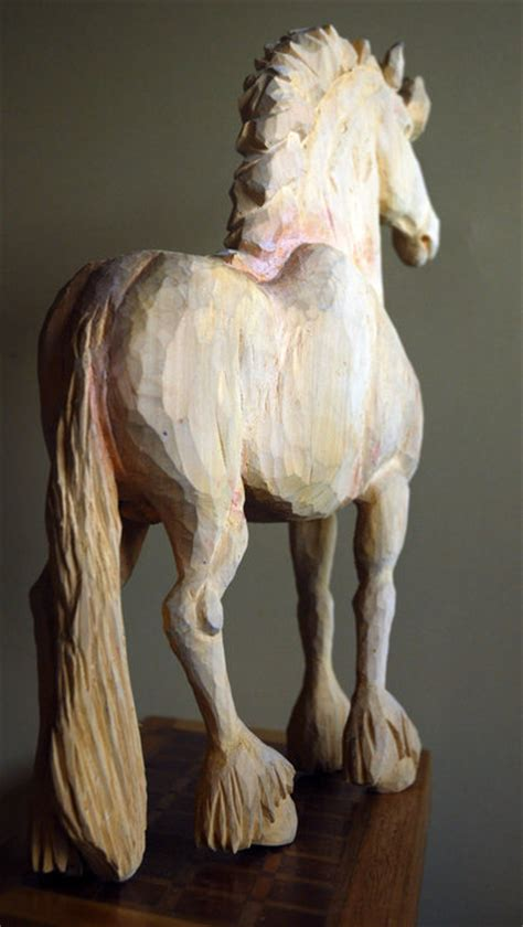 whittled pine horse fresian stallion  wyeth