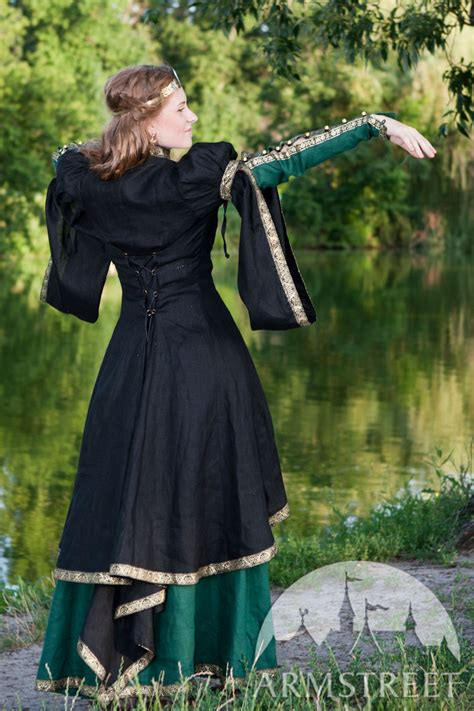 medieval black flax overcoat forest princess  sale