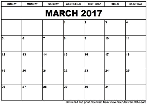 Free Calendar Template 2017 March 2017 Calendar Template