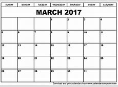 March 2017 Calendar Cute weekly calendar template