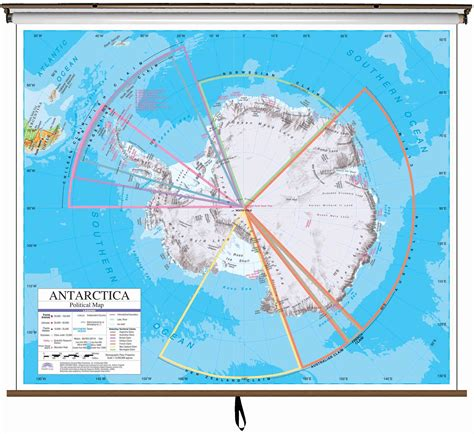 antarctica advanced political classroom wall map  roller