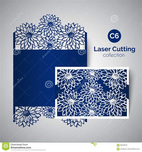 Laser Cut Wedding Invitation. Envelope For Cutting With