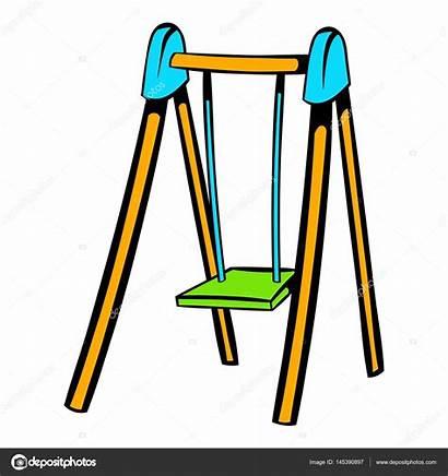 Cartoon Swing Playground Schommel Pictogram Icon Speeltuin