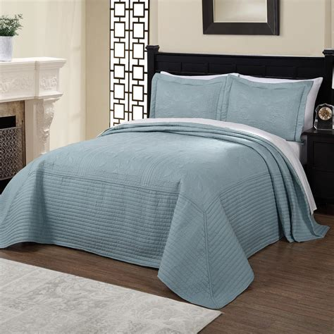 Blue Quilted Bedspread by American Traditions Tile Quilted Dusty Blue King