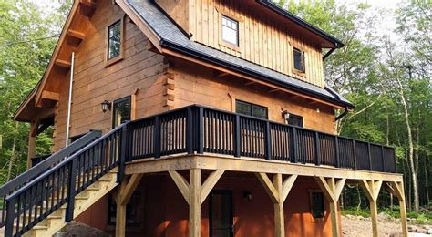 cabin deck building white woodworking exterior finishes porch deck and foundation wall