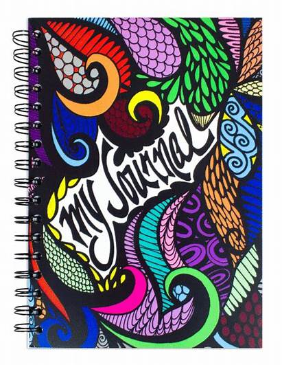 Journal Notebook Pages Spiral Hand Drawn Colored