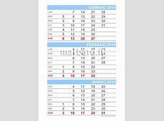 Calendario 2019 mensile da stampare scarica gratis il PDF