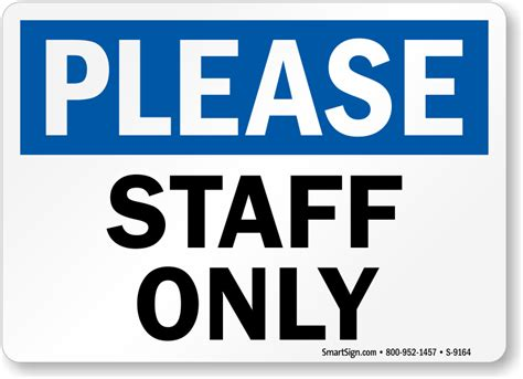 Staff Only Sign, Sku