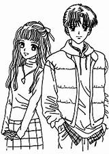 Coloring Anime Couple Animation Japan Pages Sheets Coloringsky Print Angel Adult Printable Romantic Valentines Valentine Motion Warrior Cats sketch template