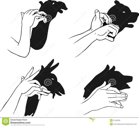 shadow  hands forming animal head stock photography