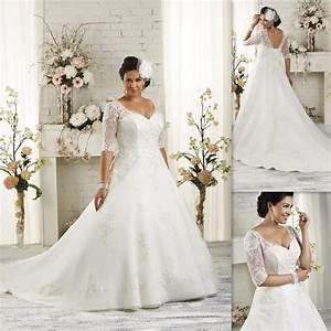 plus size wedding dresses half sleeves 2017 a line white With plus size a line wedding dresses