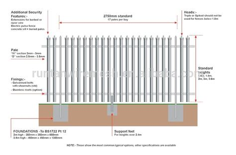 standard fence height d type profile palisade fence buy d type profile palisade fence product on alibaba com