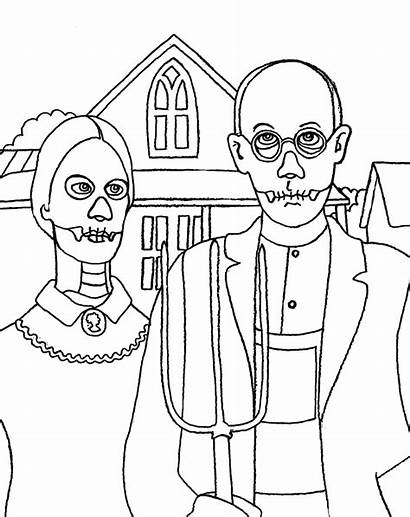 Coloring Pages Gothic American Skeletal Wenchkin Yuccaflatsnm