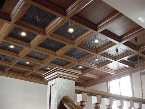 Coffered Ceiling Panels by Wood Ceiling In Loft With Tin Panels Woodgrid 174 Coffered