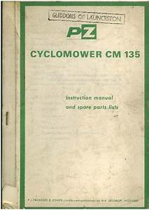 Pz Cyclomower Cm 135 Operators Manuals With Parts List