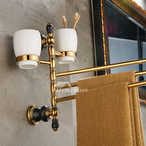 polished brass swing arm towel rack wall mount brush holder