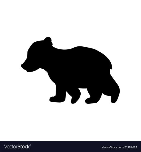 Svg can be used for banners, cards, patterns, scrapbooking, party invitations, covers, accessories, birthdays, design and more! Bear cub wild black silhouette animal Royalty Free Vector