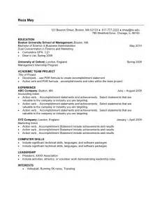 simple resume objective statement undergraduate sle resume