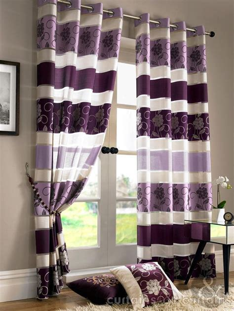 floral purple eyelet voile curtain