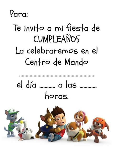 Invitación de cumpleaños descargable de La Patrulla Canina