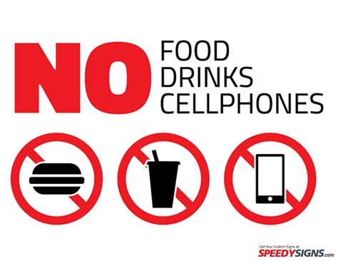 food drinks cellphones printable sign template